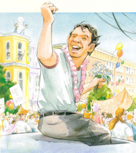 رسمة من كتاب قصة السيرة ذاتية المصورة للقتيل هارفي ميلك رائد حقوق المثليين (LGBT)